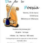 Día de la Poesía en Villanueva de Villaescusa. Viernes 22 de marzo, 19.30